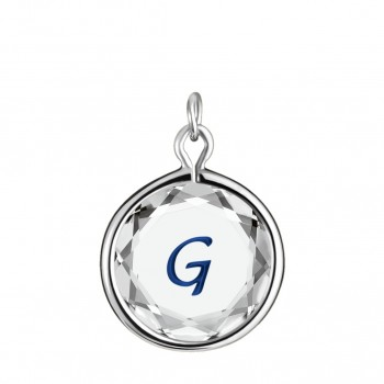 Initials Charm: G in White Crystal & Dark Blue Enameled Engraving