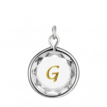 Initials Charm: G in White Crystal & Gold Enameled Engraving