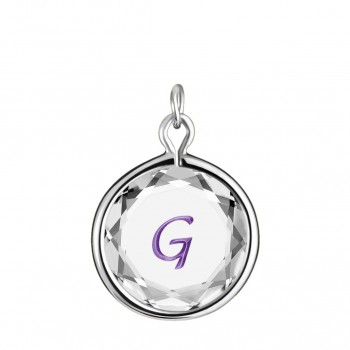 Initials Charm: G in White Crystal & Purple Enameled Engraving