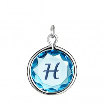 Initials Charm: H in Blue Crystal & Dark Blue Enameled Engraving