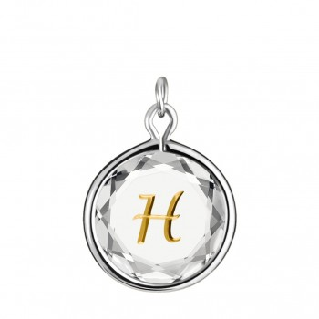 Initials Charm: H in White Crystal & Gold Enameled Engraving