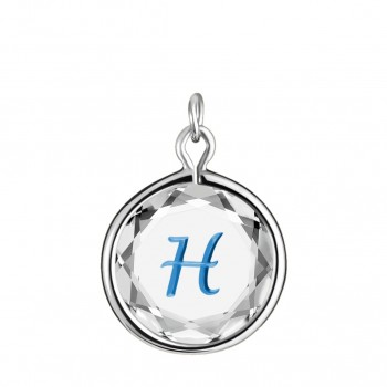 Initials Charm: H in White Crystal & Medium Blue Enameled Engraving