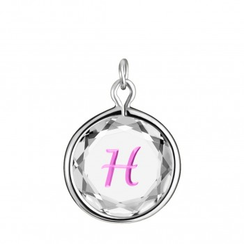 Initials Charm: H in White Crystal & Pink Enameled Engraving