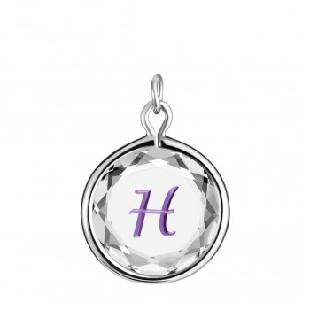 Initials Charm: H in White Crystal & Purple Enameled Engraving