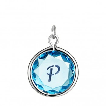 Initials Charm: P in Blue Crystal & Dark Blue Enameled Engraving