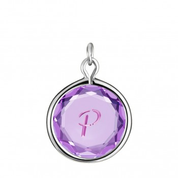 Initials Charm: P in Purple Crystal & Pink Enameled Engraving