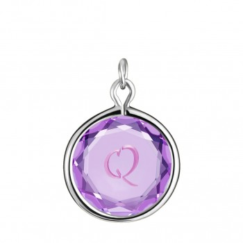 Initials Charm: Q in Purple Crystal & Pink Enameled Engraving