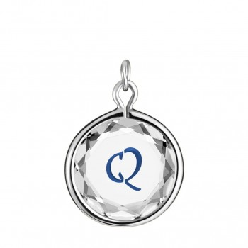 Initials Charm: Q in White Crystal & Dark Blue Enameled Engraving