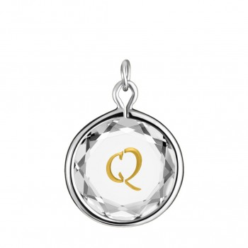 Initials Charm: Q in White Crystal & Gold Enameled Engraving