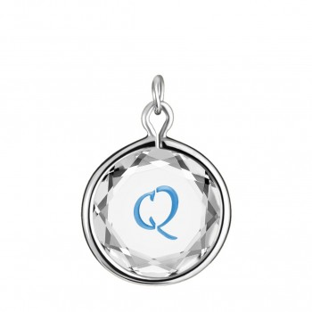 Initials Charm: Q in White Crystal & Medium Blue Enameled Engraving