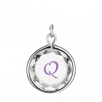 Initials Charm: Q in White Crystal & Purple Enameled Engraving