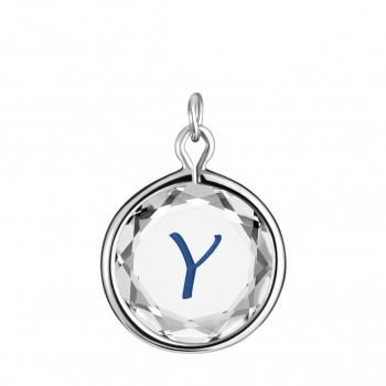 Initials Charm: Y in White Crystal & Dark Blue Enameled Engraving