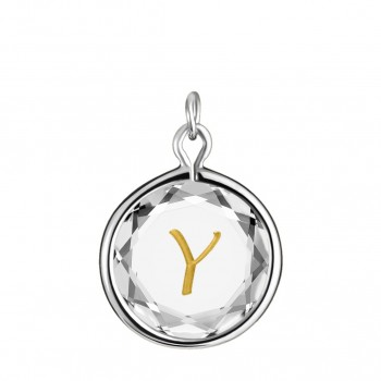 Initials Charm: Y in White Crystal & Gold Enameled Engraving