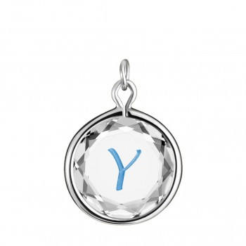Initials Charm: Y in White Crystal & Medium Blue Enameled Engraving
