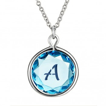 Initials Pendant: A in Blue Crystal & Dark Blue Enameled Engraving