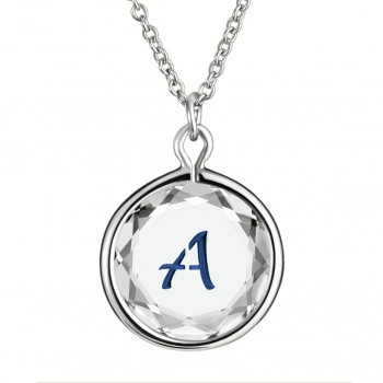 Initials Pendant: A in White Crystal & Dark Blue Enameled Engraving