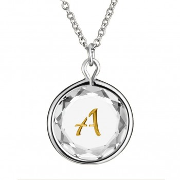 Initials Pendant: A in White Crystal & Gold Enameled Engraving
