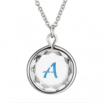 Initials Pendant: A in White Crystal & Medium Blue Enameled Engraving