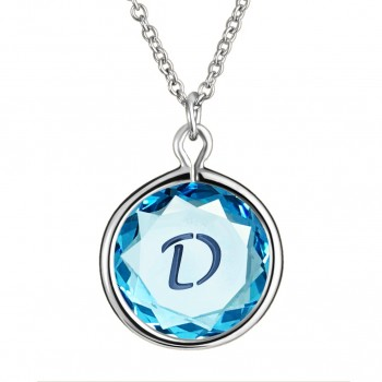 Initials Pendant: D in Blue Crystal & Dark Blue Enameled Engraving