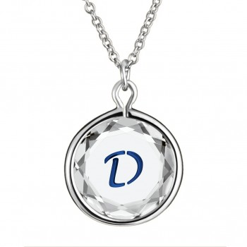 Initials Pendant: D in White Crystal & Dark Blue Enameled Engraving
