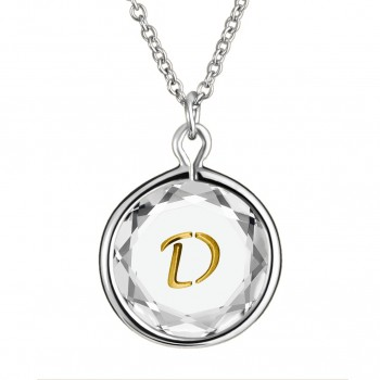 Initials Pendant: D in White Crystal & Gold Enameled Engraving