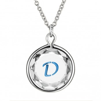 Initials Pendant: D in White Crystal & Medium Blue Enameled Engraving