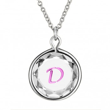 Initials Pendant: D in White Crystal & Pink Enameled Engraving