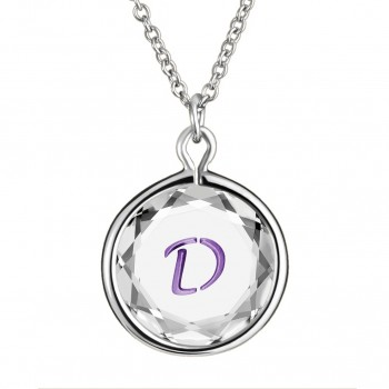Initials Pendant: D in White Crystal & Purple Enameled Engraving