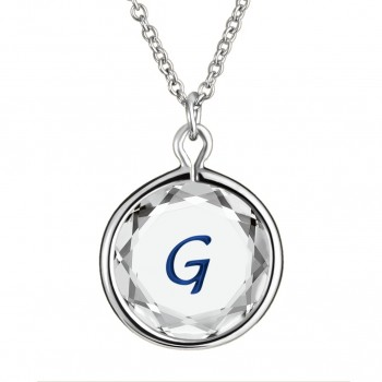 Initials Pendant: G in White Crystal & Dark Blue Enameled Engraving