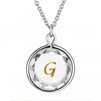Initials Pendant: G in White Crystal & Gold Enameled Engraving