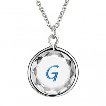 Initials Pendant: G in White Crystal & Medium Blue Enameled Engraving