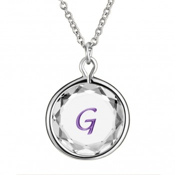 Initials Pendant: G in White Crystal & Purple Enameled Engraving