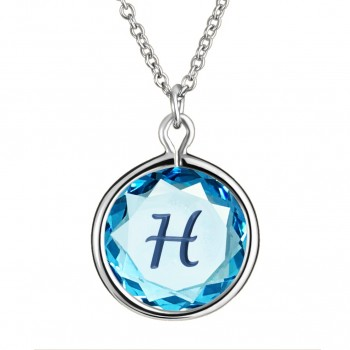 Initials Pendant: H in Blue Crystal & Dark Blue Enameled Engraving