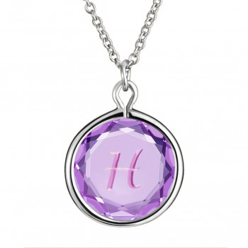 Initials Pendant: H in Purple Crystal & Pink Enameled Engraving