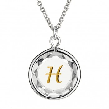 Initials Pendant: H in White Crystal & Gold Enameled Engraving