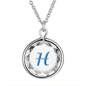 Initials Pendant: H in White Crystal & Medium Blue Enameled Engraving