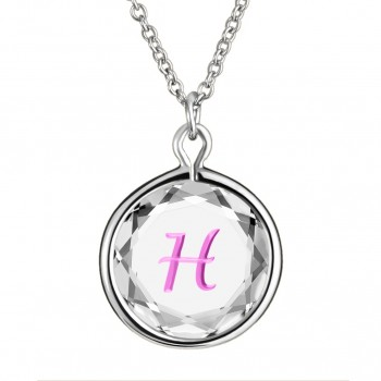 Initials Pendant: H in White Crystal & Pink Enameled Engraving