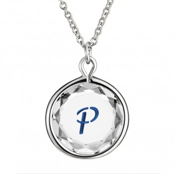 Initials Pendant: P in White Crystal & Dark Blue Enameled Engraving