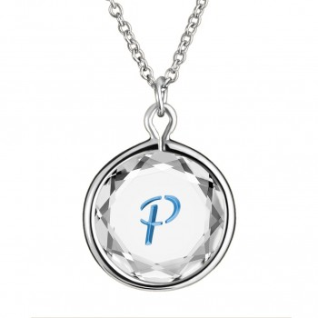 Initials Pendant: P in White Crystal & Medium Blue Enameled Engraving