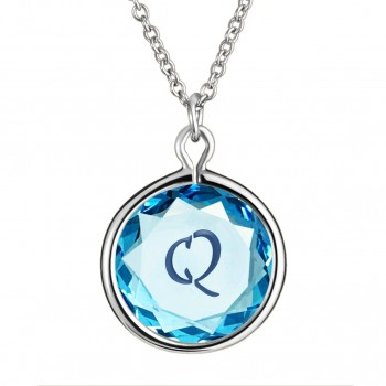 Initials Pendant: Q in Blue Crystal & Dark Blue Enameled Engraving