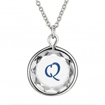 Initials Pendant: Q in White Crystal & Dark Blue Enameled Engraving