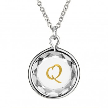 Initials Pendant: Q in White Crystal & Gold Enameled Engraving