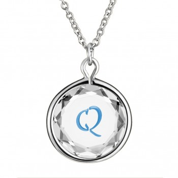 Initials Pendant: Q in White Crystal & Medium Blue Enameled Engraving