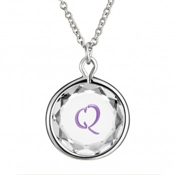 Initials Pendant: Q in White Crystal & Purple Enameled Engraving