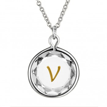 Initials Pendant: V in White Crystal & Gold Enameled Engraving