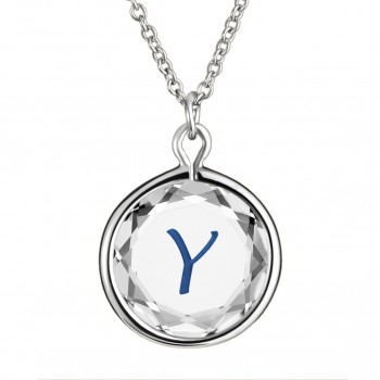 Initials Pendant: Y in White Crystal & Dark Blue Enameled Engraving