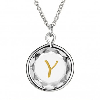 Initials Pendant: Y in White Crystal & Gold Enameled Engraving