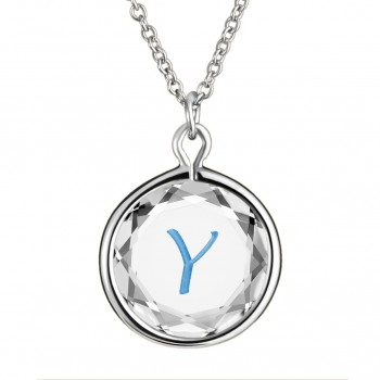 Initials Pendant: Y in White Crystal & Medium Blue Enameled Engraving