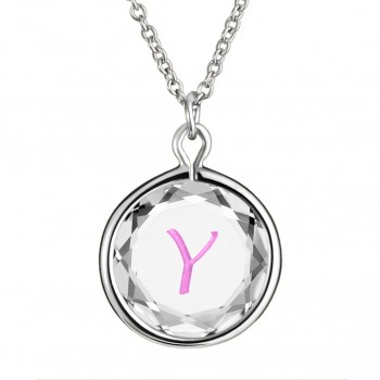 Initials Pendant: Y in White Crystal & Pink Enameled Engraving