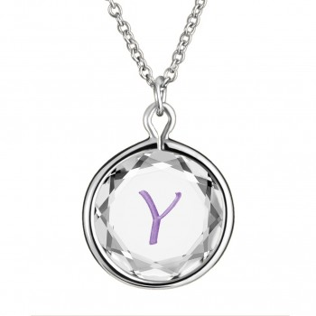 Initials Pendant: Y in White Crystal & Purple Enameled Engraving